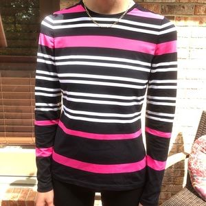 Per Se striped long sleeve tee with elbow patches